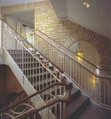 Grand stair and arched opening in Chrit Episcopal Church in Winnetka, IL